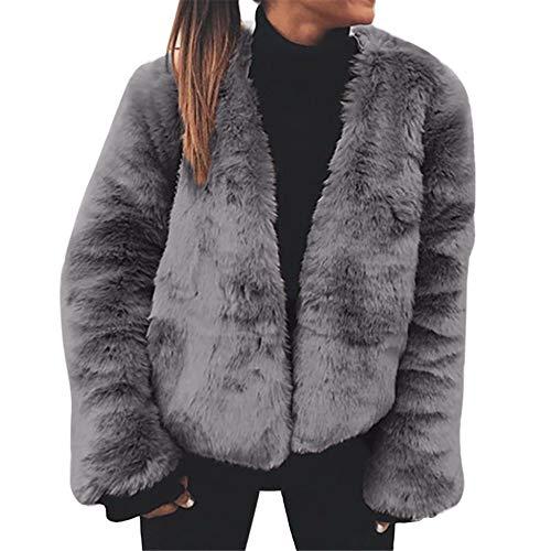 VEMOW Winter Heißer Elegante Frauen Damen Warme Künstliche Wollmantel Dichroic Jacke Winter Casual Täglichen Party Freizeit Parka Oberbekleidung(X6-a-Grau, 48 DE / 3XL CN)