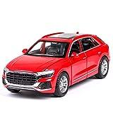 Modelo Coche 1: 32 Simulación para Audi para suv Q8 SUV SONIDO Y LUZ DE LUZ A ALEACIÓN T- OY Modelo de coche para niños Regalos Coche Niños T- Oy para niños Regalo (Color: blanco con caja) fengong