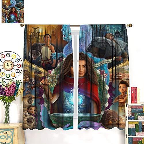 DRAGON VINES Ra-ya und der letzte Drache Sisu wärmeisolierte Verdunkelungsvorhänge/Vorhänge, Stangentasche, Verdunkelungsvorhänge, energiesparende Fensterbehandlungen für Schlafzimmer