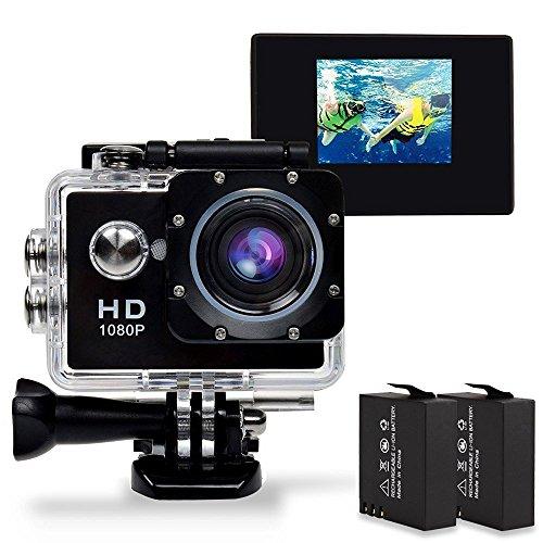 Sincewe Action Camera Sport , Macchina Fotografica d'azione da 12MP, Video Full HD a 1080p e 30 fps, Impermeabile sino a 30m di Profondit, Display da 1.5 Pollici , Accessori Multipli