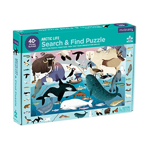"Mudpuppy Arctic Life Search & Find Puzzle, 64 Pieces, 23""x15.5"" – for Kids Age 4-7 - Colorful Illustrations of Animals, Fish, Birds Living in The Arctic – Complete Puzzle to Find 40+ Hidden Images"