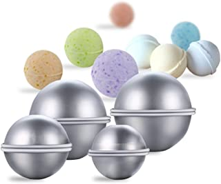 MeterMall Hot 8 Pieces DIY Metal Bath Bomb Mold Set with 3 Sizes Aluminum Alloy Bomb Balls Molds for Crafting Your Own Fiz...