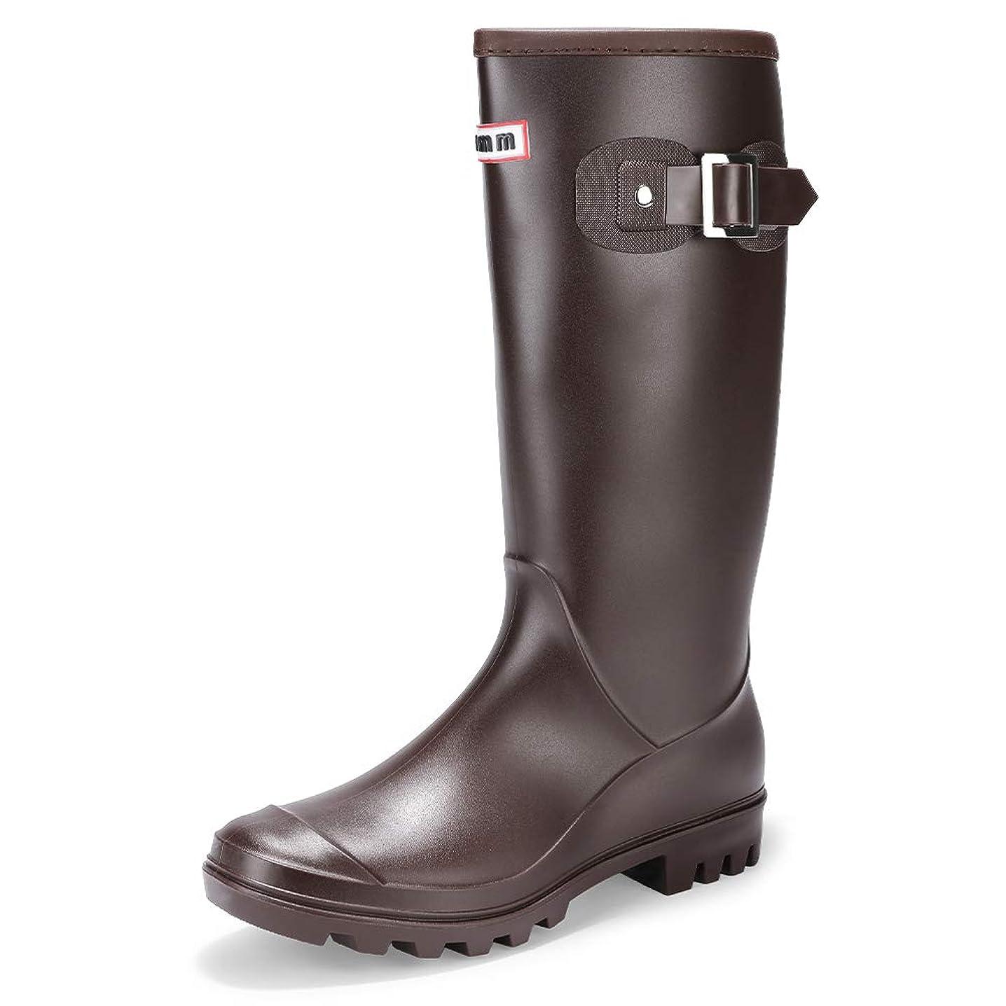 せがむ付添人正しく[IDIFU] レディース 歩きやすい 防水 防滑 ベルト 長靴 無地 ラウンドトウ ロング 雨 レインブーツ