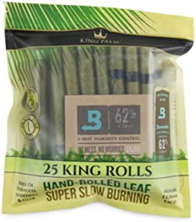 King Palm - Hand Rolled Palm Leaf Wrap Rolls - King Size - 25 Rolls/Pouch - (1)