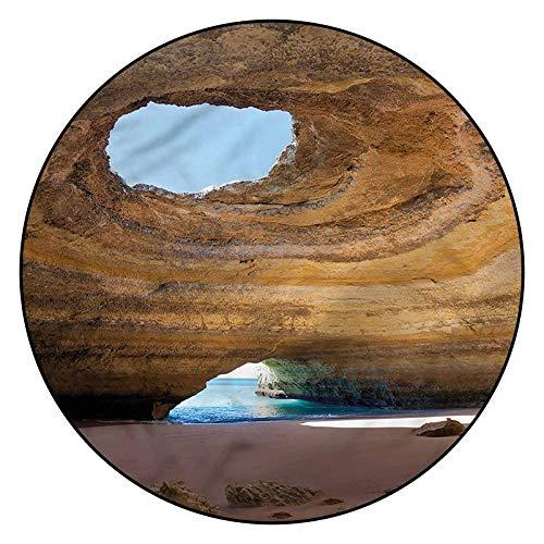Alfombra de área con patrón de cueva 3D, 5 pies redondos, cueva del mar Benagil Portugal con respaldo antideslizante para dormitorio, sala de estar, habitación infantil, decoración interior del hogar