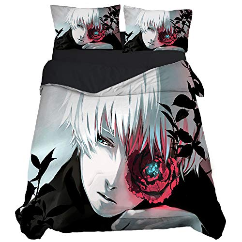 KYNWCLRW Small Double Duvet Covers, 3D Digital Print Tokyo Ghoul Kingsize Pillowcases, Premium Polyester-Cotton Ultra Soft And Hypoallergenicwith Pillow Cases, For Adults (240X260Cm)