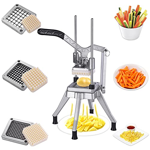 Commercial Vegetable Chopper with 3 Replacement 1/4″ 3/8″ 1/2″ Blades, Vegetable Onion Dicer Tomato Slicer, Professional Potato Slicer and chopper Stainless Steel Manual French Fry Cutter Home Kitchen