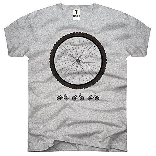 TEE-Shirt Hombre Camiseta con Impresión. Camiseta con Bicicleta Impresión. Té con Rueda Print. Gris XX-Large