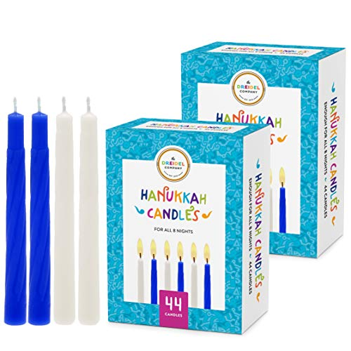 The Dreidel Company Menorah Candles Chanukah Candles 44 White and Blue Hanukkah Candles for All 8 Nights of Chanukah (2-Pack)