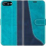 Mulbess Custodia per iPhone 8 Plus, Cover iPhone 8 Plus Libro, Custodia iPhone 7 Plus, Custodia iPhone 8 Plus Pelle, Flip Cover per iPhone 8 Plus Portafoglio, Blu Mint
