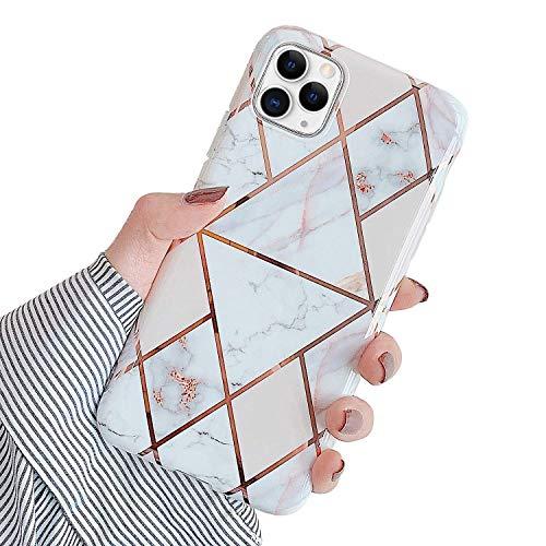 QPOLLY Compatible avec iPhone 11 Pro Max Marbre Coque, Brillante Glitter Paillettes Bling Case Motif de Marbre Ultra Mince Souple TPU Silicone Gel Bum