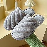 Pantuflas Casa Mujer Cute,Calzado de algodón cálido Antideslizante Interior de Invierno para Mujer, Pantuflas de Felpa de Suela Blanda-Gri,Zapatillas Interior Casa Caliente Slippers