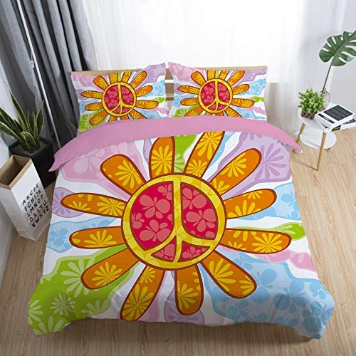 667 SA&NOELY Peace Sign Bed Linen Set - Duvet Cover and Two Pillow Cases Microfibre 3D Digital Print Three-Part Set Thick and Soft, 02, Double 200x200cm
