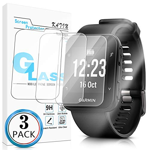 KATIN Garmin Forerunner 35 Screen Protector - [3-Pack] Tempered Glass for Garmin Forerunner 35 Bubble Free with Lifetime Replacement Warranty