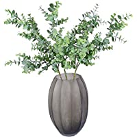 """Aisamco 3 Piezas. Eucalipto Artificial. Ramas de Plantas. Hojas de eucalipto sintético. Espray. Vegetal Artificial. Tallos Florales de 35""""de Alto en Gris Verde para la Boda."""