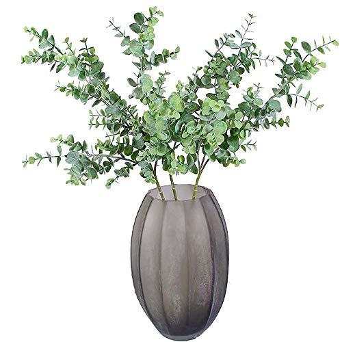 """Aisamco 3 Stück Künstliche Eukalyptus Zweige Pflanzen Faux Eukalyptus Blätter Spray Künstliche Grün Floral Stiele 35\"""" Hoch in Grau Grün für Hochzeit Blumenarrangement"""