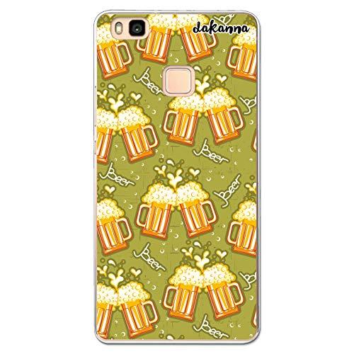 dakanna Funda Compatible con [Huawei P9 Lite] de Silicona Flexible, Dibujo Diseño [Patron de Cerveza y Frase Beer], Color [Borde Transparente] Carcasa Case Cover de Gel TPU para Smartphone