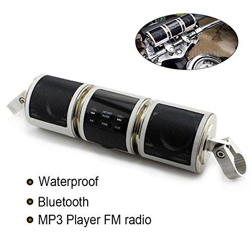 Wasserdichte Motorrad Bluetooth Lautsprecher, Drahtlose Motorrad FM Radio Bike Scooter Audio-Sound-System Stereo-Lautsprecher MP3, Unterstützung USB/TF karte/AUX Schnittstelle(Silber Farbe)