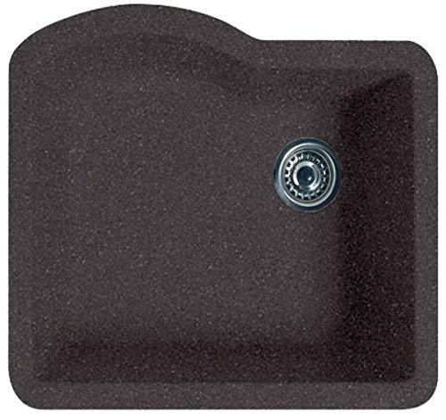 Swanstone QU02522SB.077 Granite Undermount Single-Bowl Kitchen Sink, 24-in L X 21-in H X 9-in H, Nero