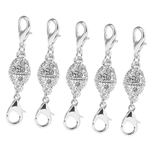 MagiDeal 5 Piece Oval Crystal Ball Magnetic Clasps with Two Sides Lobster Hook Jewelry Fastener Claw Hook Full Shiny Rhinestone - Silver