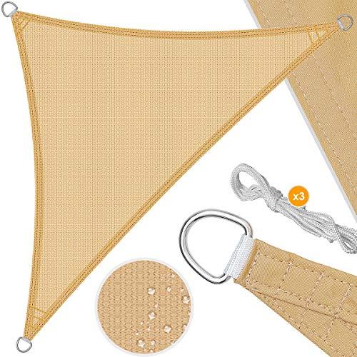 Kesser® Sonnensegel Sonnenschutz Windschutz | HDPE Gewebe | wasserabweisend & windabweisend | Dreieck 2,5x2,5x3,5m | 5-Fach quer vernäht robust & stabil...