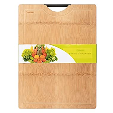jaszmer Extra Large Bamboo Cutting Board, Organic Bamboo Cutting Board with Drip Groove Multi-size Chopping Board with Handle, 17.72✕12.60✕0.71 IN