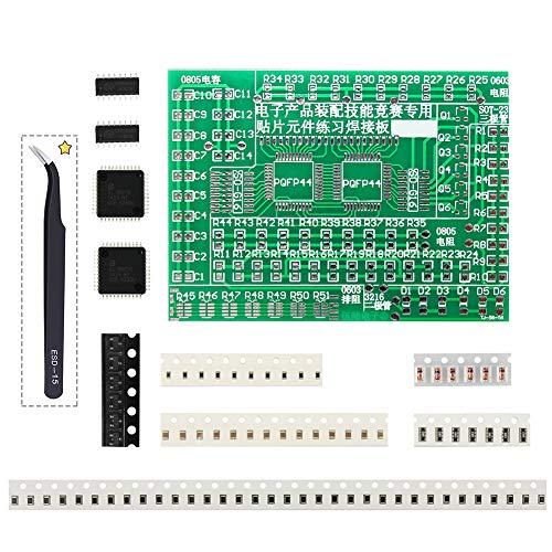 Laixin DIY Práctica de Soldadura SMD SMT Soldadura Entrenamiento Práctica Habilidad Placa PCB con Pinzas para Principiantes