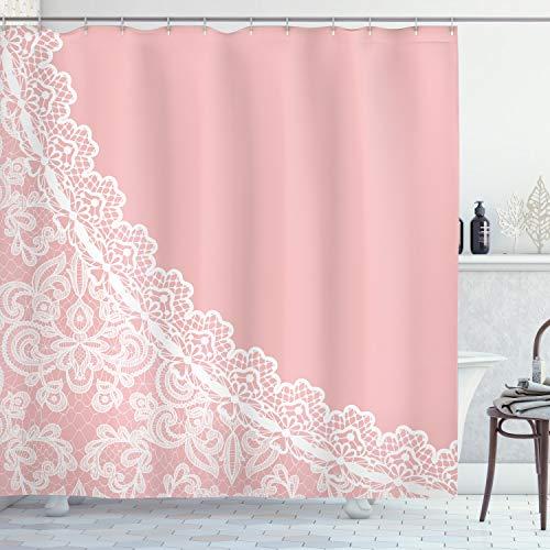 ABAKUHAUS Pink und Weiß Duschvorhang, Spitze Art Border, Pflegeleichter Stoff mit 12 Haken Wasserdicht Farbfest Bakterie Resistent, 175 x 200 cm, Hellrosa weiß