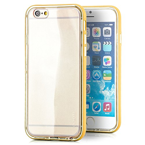Preisvergleich Produktbild HOCO. Apple iPhone 6 / 6S Hülle Hybrid Slim Case und Aluminium Bumper Rahmen Cover Schutzhülle Transparent - Gelb