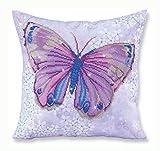 Needleart World Coussin Papillon Mauve Kit Loisirs Créatifs, Résine, Multicolore, 45 x 45 cm