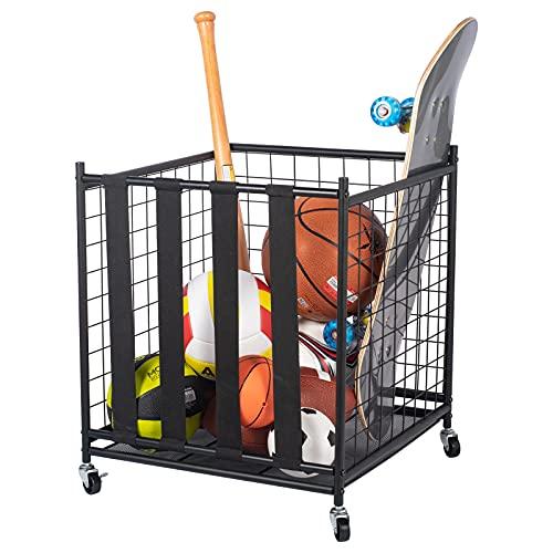 Ball Storage, Rolling Sport Balls Cart, Ball organizer for garage, Garage Organizer Sport Rack, Ball Basket Storage with Elastic Straps, Garage Sports Equipment Organizer for Kinds Balls, Kids Toys