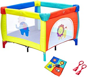 YEHL Playpen Portable Play Yard for Toddler  Indoor Folding Baby with Mat Infants Security Fence  100x100x78cm