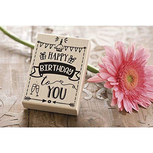 Rayher Hobby 29108000 Holzstempel Happy Birthday, 7 x 10 cm, Textstempel Geburtstag, perfekt zum Gestalten von Karten, Umschlägen, Butterer Schrift-Stempel
