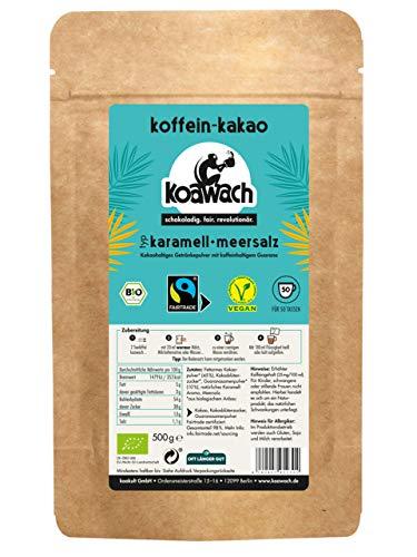 koawach Karamell + Meersalz Kakaopulver Trinkschokolade – Koffein Kakao Guarana Vegan heiße Schokolade Getränk weniger Zucker Kokosblütenzucker Energy Drink Backkakao Bio Fairtrade (500g)