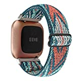Adjustable Elastic Watch Band Compatible with Fitbit Versa/Versa 2/Versa Lite Special Edition for Women Men Nylon Stretchy Strap Wristband for Fitbit Versa Smart Watch (Green Arrow)