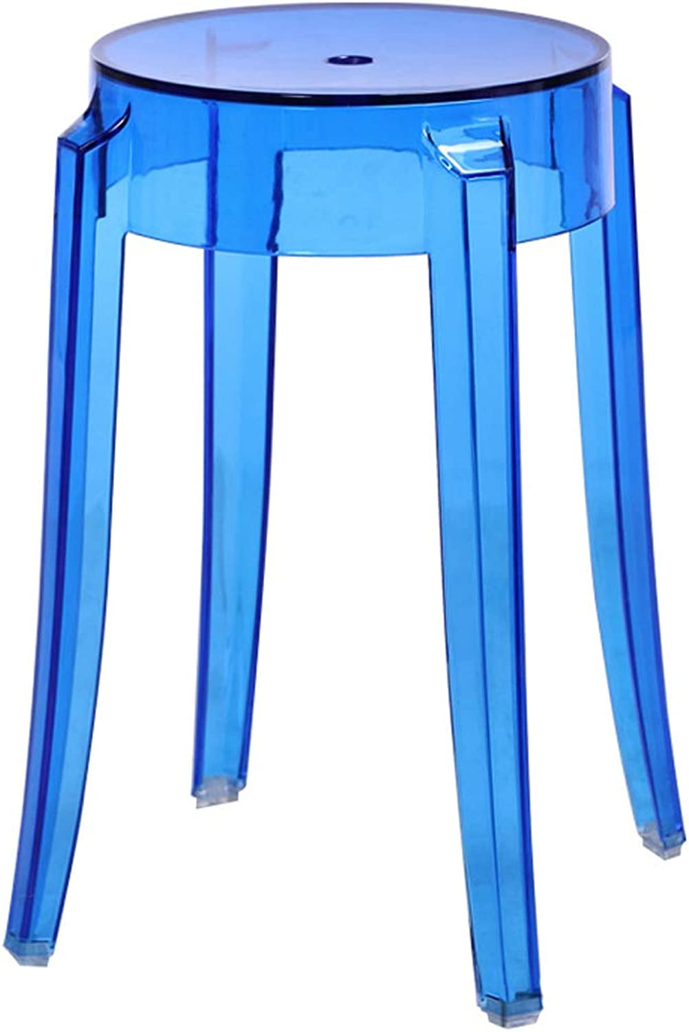 LRW Plastic Stools, Thickened Acrylic Chairs, Stools, Chairs, High Stools, High Stools, Transparent bluee.