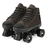 WOERD Patines de Ruedas Roces para Mujeres,Doble Línea 4 Ruedas Zapatos de Patinaje de Skate Patines en Paralelo Retro,para Niños Adolescentes y Adultos Patín con Ruedas Trends
