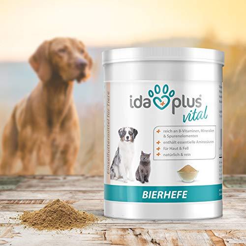 Ida Plus - Reines Bierhefe-Pulver - 500g - 100% Naturprodukt für Hunde, Katzen & Pferde - Futterergänzung für glänzendes Fell & kräftige Haut - reich an B-Vitaminen, Mineralien & Spurenelemente - 8