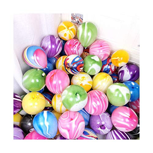 Duomu 30 Pcs Balloons Marble Agate Decoration Mix Color for School Introduction Balloons for Birthday Party Balloons Garland