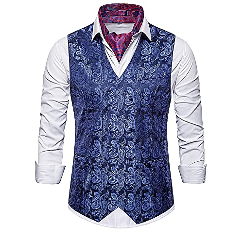 JPDD Mens Suit Vest Formal Party Wedding Floral Waistcoat Men's Floral Printed Suit Vest Dress Waistcoat Tuxedo Vest Wedding Men V-Neck Sleeveless Slim Fit Paisley Printed Waistcoat Suit Vest