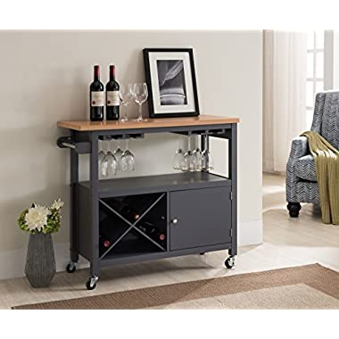 Kings Brand Furniture Grey/Natural Finish Wood Kitchen Storage Serving Cart with Wine Rack