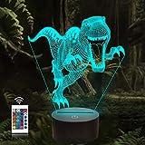 Luz de noche 3D, lámpara de noche de dinosaurio con ilusión óptica de 16 colores que cambia con control remoto, luz de noche visual LED para regalos de cumpleaños para niños
