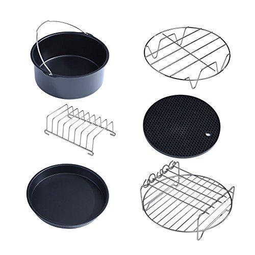 ROSEBEAR Multifunktionales Zubehör für Luftfritteusen Set Metallhalter Spießgestell Teile 6 in 1