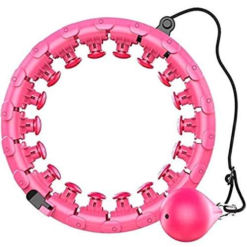 Hula Hoop Masaje Inteligente Ponderado Hula Hoop Removible Nunca Cae Altura Ajustable Kit de Ejercicio Interior Al Aire Libre Quema de Grasa para Adultos y Niños (Color : Pink, Size : 24 Knots)