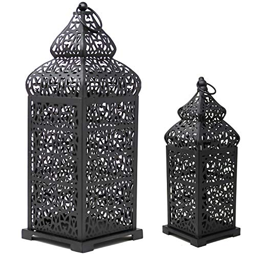 Vela Lanterns Temple Moroccan Style Candle Lanterns, Black, Set of 2