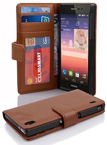 Cadorabo Hülle für Huawei P7 - Hülle in Cognac BRAUN – Handyhülle mit 3 Kartenfächern - Case Cover Schutzhülle Etui Tasche Book Klapp Style
