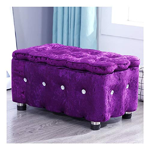 Fußbank Truhen Foldable Bench Seat Chest, Seat Chest Foldable, Foldable Bench Seat Chest Half Lid Side Foldable Max. Static Load Capacity 150kg. Sitzhocker mit Stauraum (Color : Deep Purple)