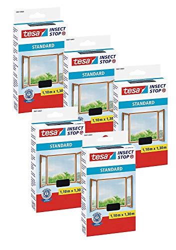 tesa® Insect Stop STANDARD Fliegengitter für Fenster - Insektenschutz zuschneidbar - Mückenschutz ohne Bohren - Fliegen Netz anthrazit, 110 cm x 130 cm (5)