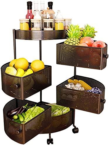 Estante de almacenamiento Fruit Hortaliz Estante de verduras 5 niveles Rolling Cocina Carro Carro con ruedas Multifunción Sirviendo Carrito, Fruta giratoria y cesta de verduras para baño, Sala de esta