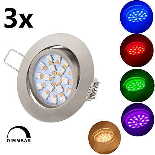 TEVEA® Ultra Flach LED RGBW Einbaustrahler - Lampe mit Fernbedienung - Partylicht - Partyleuchte - Dimmbar Warmweiß - Einbauleuchte - Einbauspot (Chrom Gebürstet)